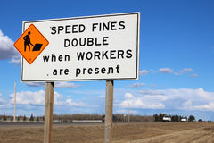 Speed fines double sign along highway Stock Images