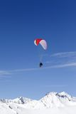 Speed Flying in Mountains Stock Image