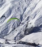 Speed flying in mountains at sun day Royalty Free Stock Photos