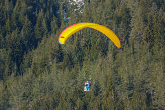 Speed flying on a small, fast fabric wing done on skis Royalty Free Stock Photography