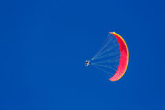 Speed flying on a small, fast fabric wing done on skis Royalty Free Stock Images