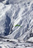 Speed flying in snow mountains at sun day Stock Photography