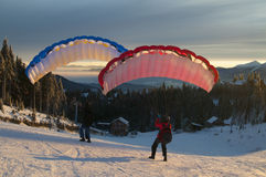 Speed flying in winter mountains. Speed flying in winter Carpathian Mountains royalty free stock photos