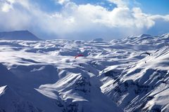 Speed flying in winter mountains Stock Image