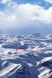 Speed flying in winter mountains Stock Photos