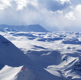 Speed flying in winter mountains Royalty Free Stock Photos