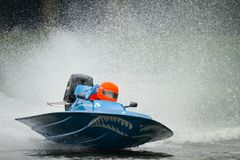Speed. Formula1 powerboat on the bosbaan in Holland Stock Images