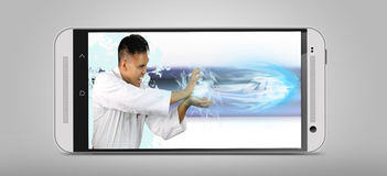 The speed of 4G shown by a powerful man. The speed of 4G shown by a man throwing a fireball Royalty Free Stock Images