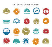 Speed gauge icons. Vector circular barometer or meter sign Royalty Free Stock Photos