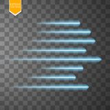 Speed glow blue lines . Set of motion signs. Vector illustration. Eps 10 Royalty Free Stock Photo