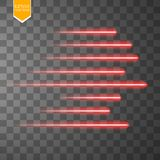 Speed glow red lines . Set of motion signs. Vector illustration. Eps 10 Royalty Free Stock Photo