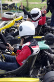 Speed go-cart racers Stock Images