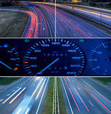 Speed highway collage. Picture of a Speed highway collage royalty free stock photography