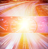 Speed highway collage Royalty Free Stock Photos