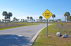Speed Hump sign. At the entrance of a beach park, Bellair, Florida Royalty Free Stock Photography
