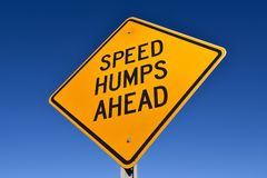Speed hump sign. Signs warning of Speed Humps ahead against a blue sky Royalty Free Stock Photography