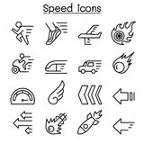 Speed icon set in thin line style. Vector illustration graphic design Stock Photography