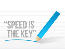 Speed is the key written on a notepad paper. Royalty Free Stock Photography