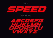 Free Speed Letters Set. Red Race Font. Italic Bold Racing Style Vector Latin Alphabet. Fonts For Event, Promo, Logo, Banner Stock Photography - 148111122