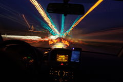 Speed of light. Traffic lights shot from my car royalty free stock photography