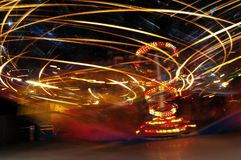 Speed light in Luna park. Light spinning around in luna park Stock Images