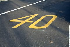 Speed limit. Lane of speed limit 40 Stock Image