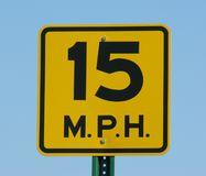 Speed Limit. 15 mph speed limit sign stock photos