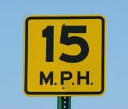 Speed Limit. 15 mph speed limit sign Stock Photos