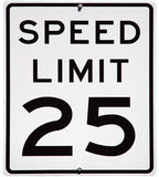 Speed Limit 25. MPH sign, isolated background Royalty Free Stock Photography
