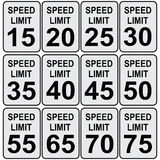 Speed limit. Road speed limit signs from fifteen to seventy-five. Vector illustration vector illustration