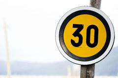 Speed limit. Sign on clean background , exterior Royalty Free Stock Photography