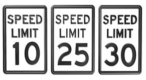 Speed limit. 10,  25,  30 Royalty Free Stock Photo