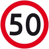 Speed limit. 50 km speed limit road sign - vector illustration Stock Photography