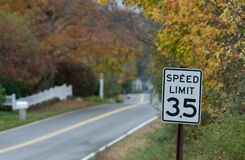 Speed Limit 35, Autumn Royalty Free Stock Photos