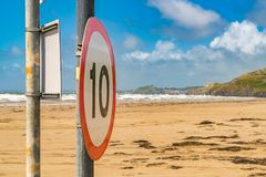 Speed limit on the beach Stock Photos