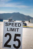 Speed limit 25 at Bonneville. Sign Speed limit 25 at Bonneville Salt Flats International Speedway in Utah, USA Stock Photography