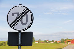 The speed limit of 70 is canceled. Traffic signs - The speed limit of 70 is canceled Royalty Free Stock Photo