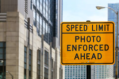 Speed Limit in Chicago. Chicago, USA - May 24, 2014: Sign marking an area where speed limit is enforced by photo Royalty Free Stock Photography