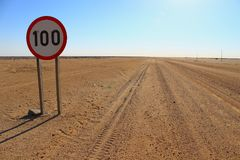 Speed limit on a desert road in Namibia stock photography