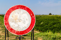 speed limit faded sign as no passing sign Stock Photography