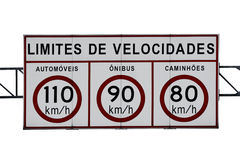 Speed limit highway sign. An isolated speed limit highway sign in KM/H (Text in Portuguese-Br Stock Photography