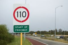 Speed limit on a highway Stock Image