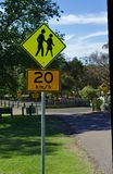 Speed limit 20 kilometers per hour and pedestrian area sign stock photos