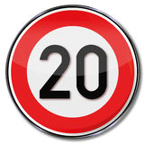 Speed limit 20 kilometers per hour Royalty Free Stock Images