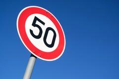 Speed limit 50 km/h. German road sign: speed limit 50 km/h stock illustration
