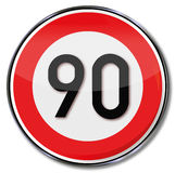Speed limit 90 kmh Royalty Free Stock Images
