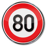 Speed limit 80 kmh Stock Image