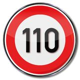 Speed limit 110 kmh. On this street Royalty Free Stock Photos