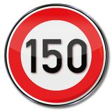 Speed limit 150 kmh. On this street Stock Image