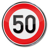 Speed limit 50 kmh Stock Photography